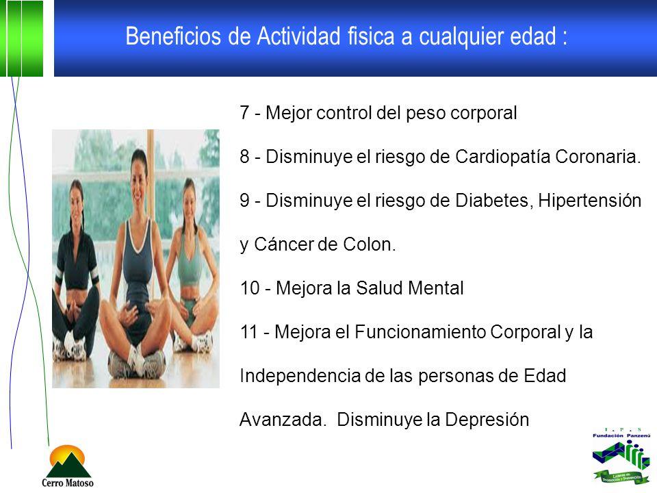 Beneficios de Actividad fisica a cualquier edad :