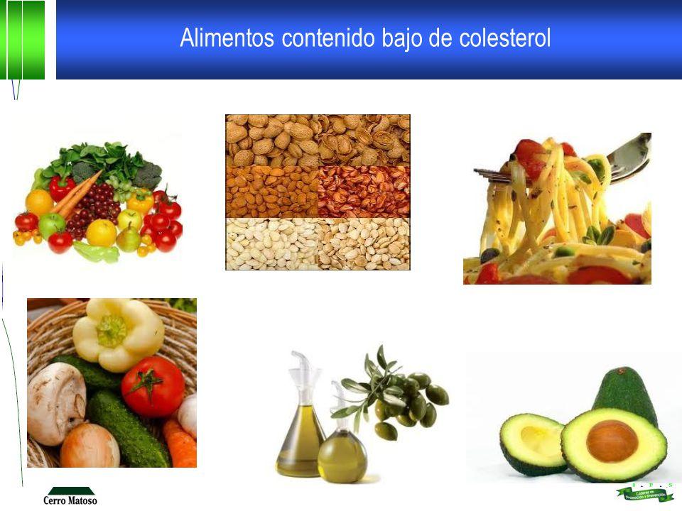 Alimentos contenido bajo de colesterol