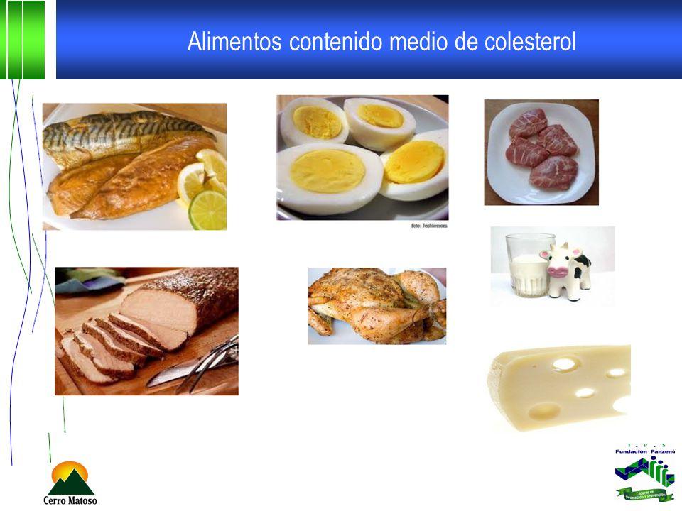 Alimentos contenido medio de colesterol