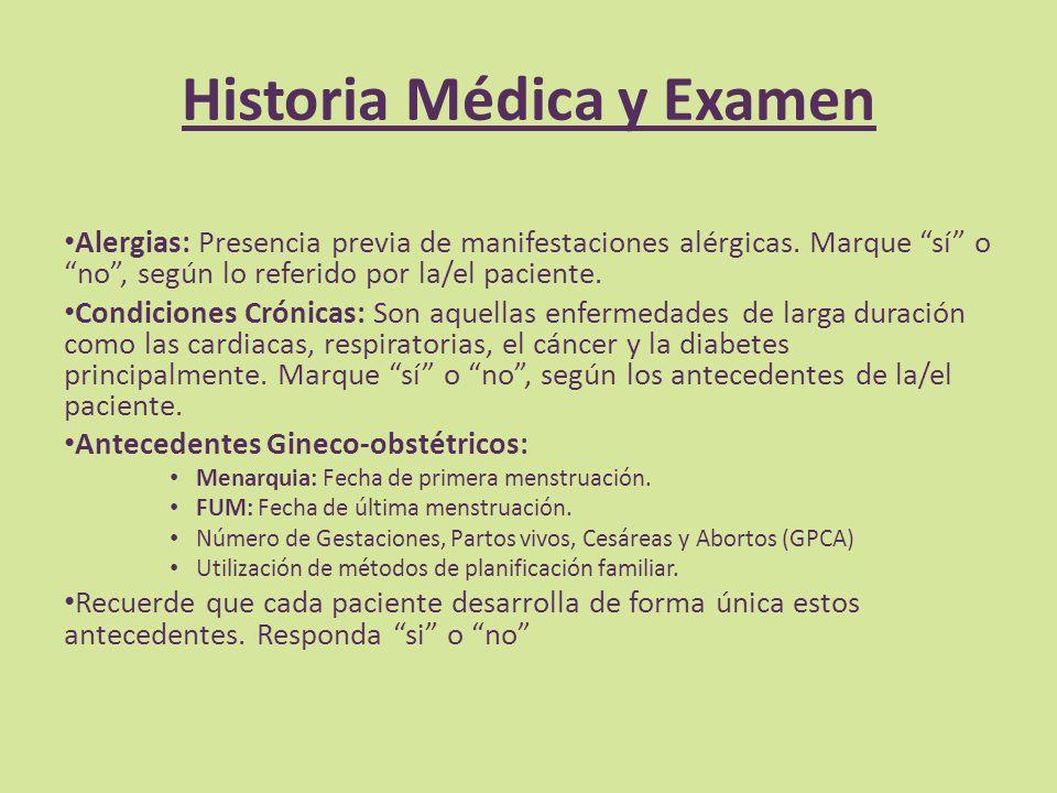 Historia Médica y Examen