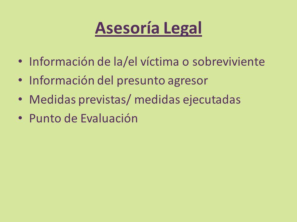Asesoría Legal Información de la/el víctima o sobreviviente