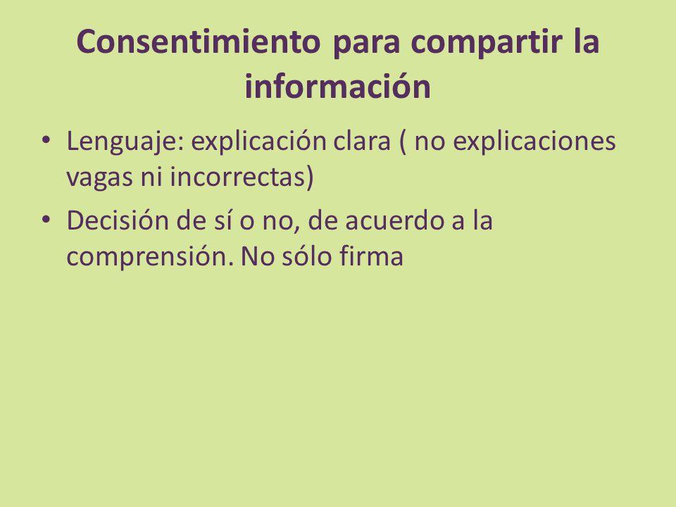 Consentimiento para compartir la información