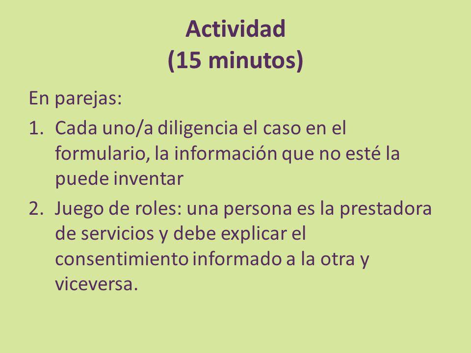 Actividad (15 minutos) En parejas: