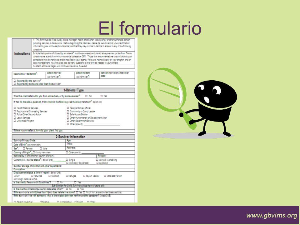 El formulario www.gbvims.org
