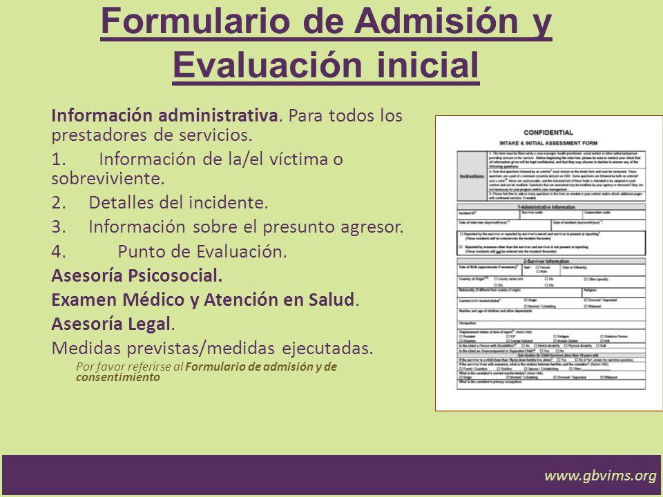 Formulario de Admisión y Evaluación inicial