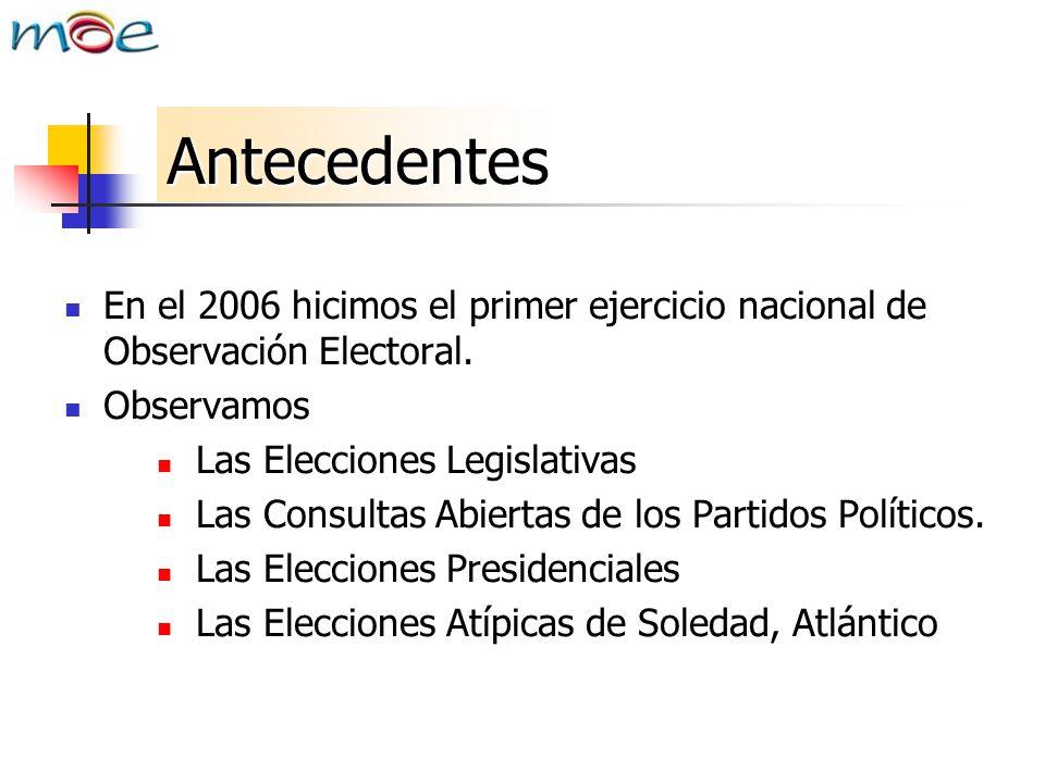 Antecedentes En el 2006 hicimos el primer ejercicio nacional de Observación Electoral. Observamos.