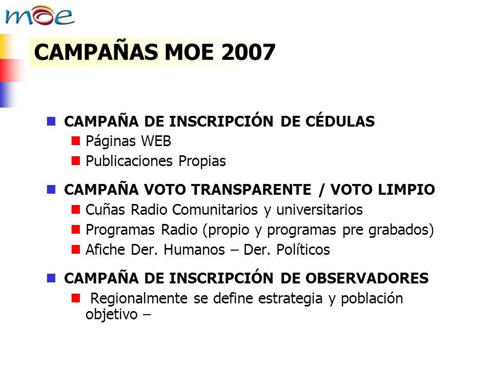 CAMPAÑAS MOE 2007 CAMPAÑA DE INSCRIPCIÓN DE CÉDULAS Páginas WEB