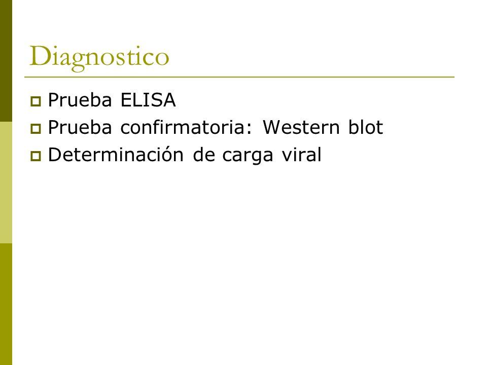 Diagnostico Prueba ELISA Prueba confirmatoria: Western blot