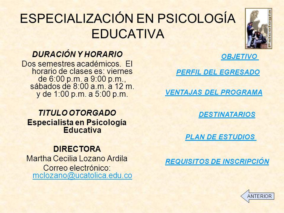 ESPECIALIZACIÓN EN PSICOLOGÍA EDUCATIVA