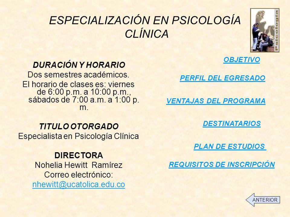 ESPECIALIZACIÓN EN PSICOLOGÍA CLÍNICA