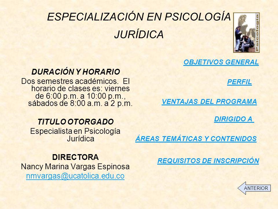ESPECIALIZACIÓN EN PSICOLOGÍA JURÍDICA