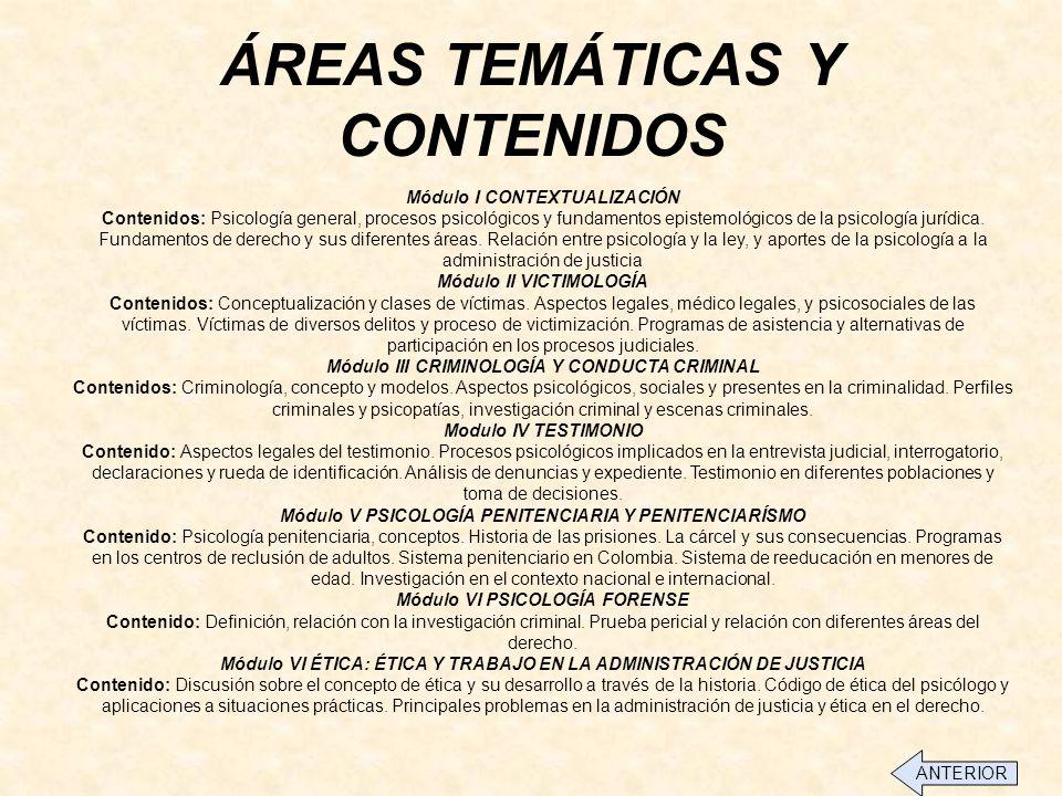 ÁREAS TEMÁTICAS Y CONTENIDOS