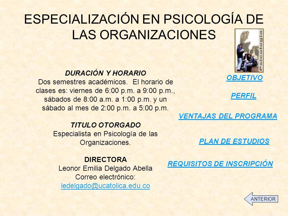 ESPECIALIZACIÓN EN PSICOLOGÍA DE LAS ORGANIZACIONES
