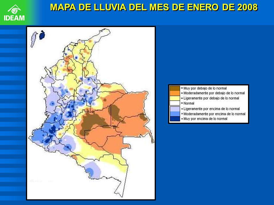 MAPA DE LLUVIA DEL MES DE ENERO DE 2008