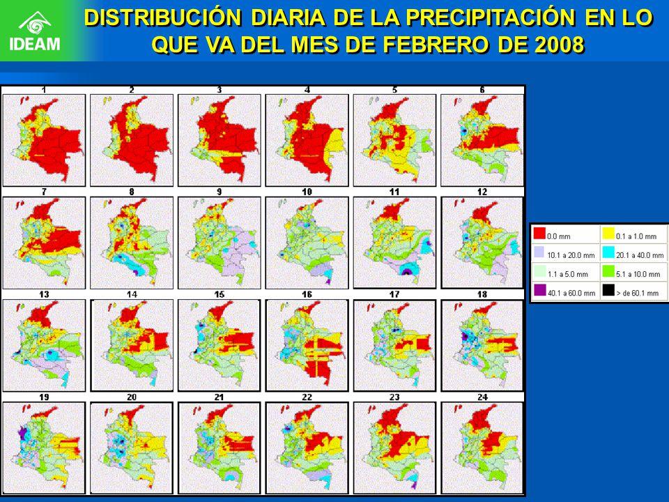 DISTRIBUCIÓN DIARIA DE LA PRECIPITACIÓN EN LO QUE VA DEL MES DE FEBRERO DE 2008