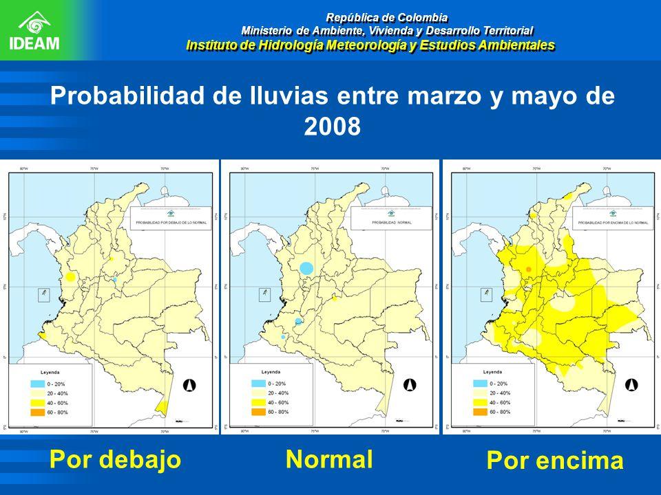 Probabilidad de lluvias entre marzo y mayo de 2008