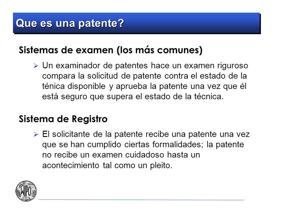 Que es una patente Sistemas de examen (los más comunes)