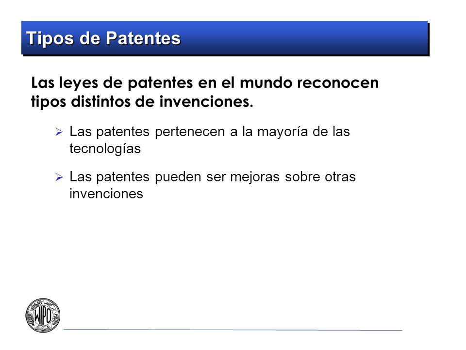 Tipos de Patentes Las leyes de patentes en el mundo reconocen tipos distintos de invenciones.