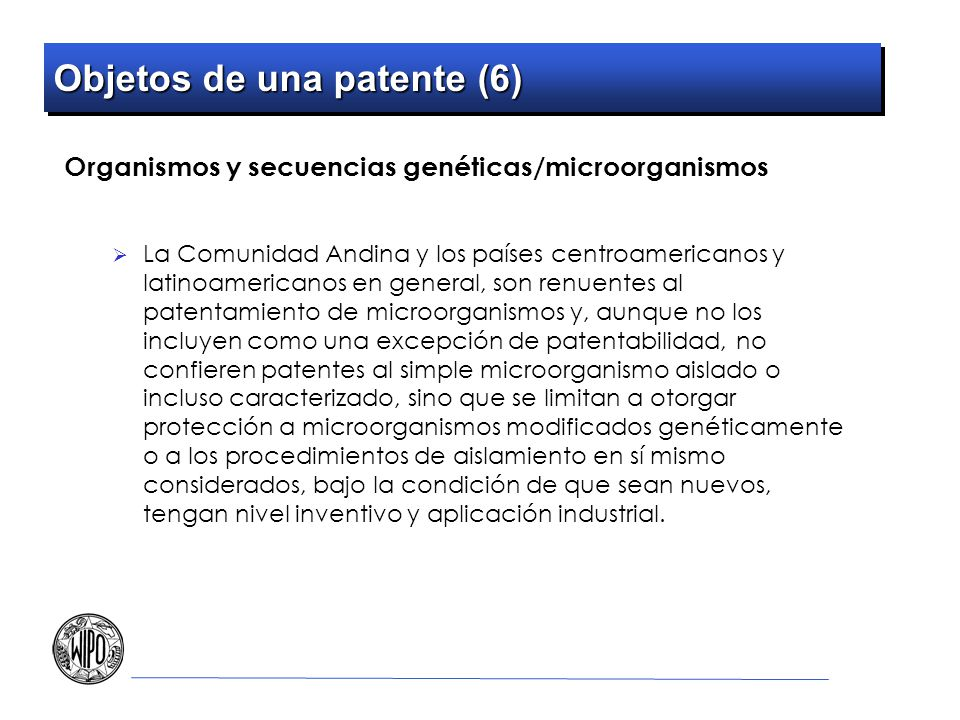 Objetos de una patente (6)