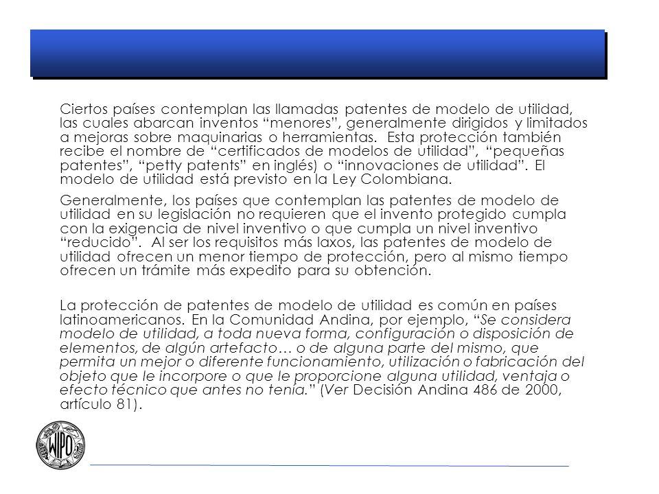 Ciertos países contemplan las llamadas patentes de modelo de utilidad, las cuales abarcan inventos menores , generalmente dirigidos y limitados a mejoras sobre maquinarias o herramientas. Esta protección también recibe el nombre de certificados de modelos de utilidad , pequeñas patentes , petty patents en inglés) o innovaciones de utilidad . El modelo de utilidad está previsto en la Ley Colombiana.
