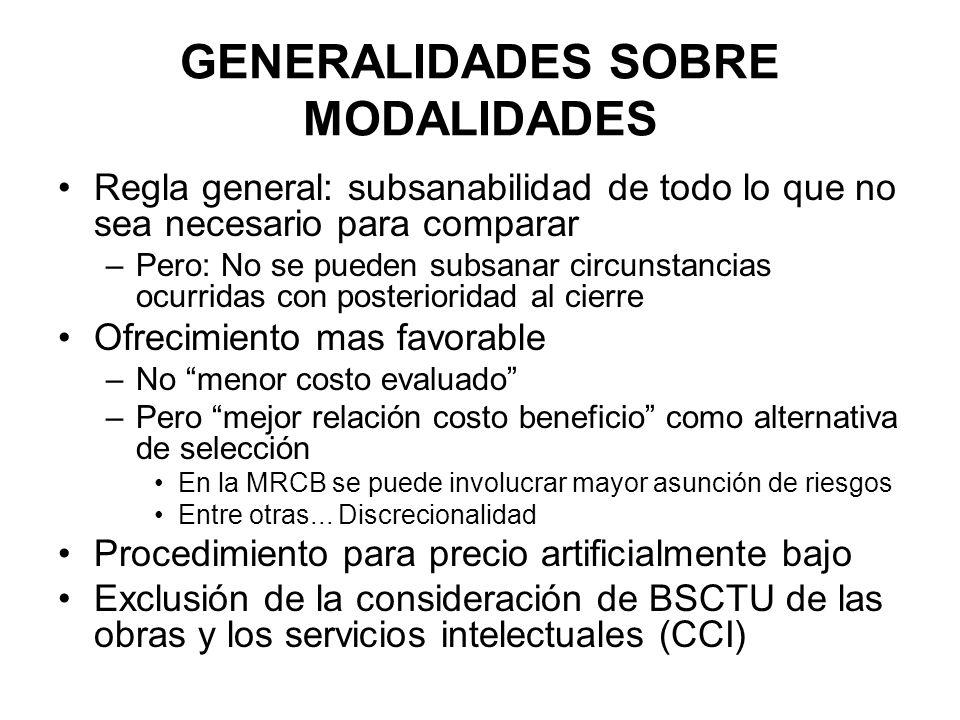 GENERALIDADES SOBRE MODALIDADES