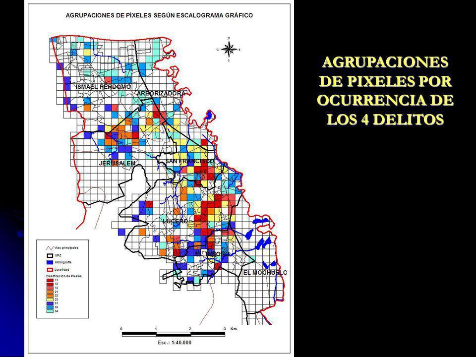 AGRUPACIONES DE PIXELES POR OCURRENCIA DE LOS 4 DELITOS