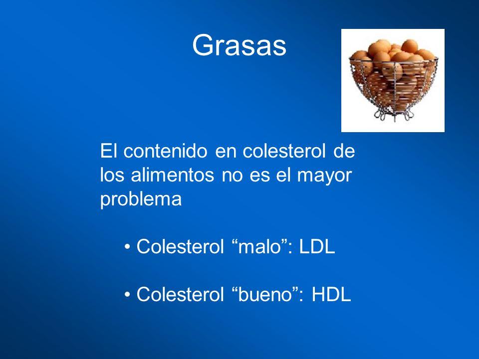 Grasas El contenido en colesterol de los alimentos no es el mayor problema. Colesterol malo : LDL.