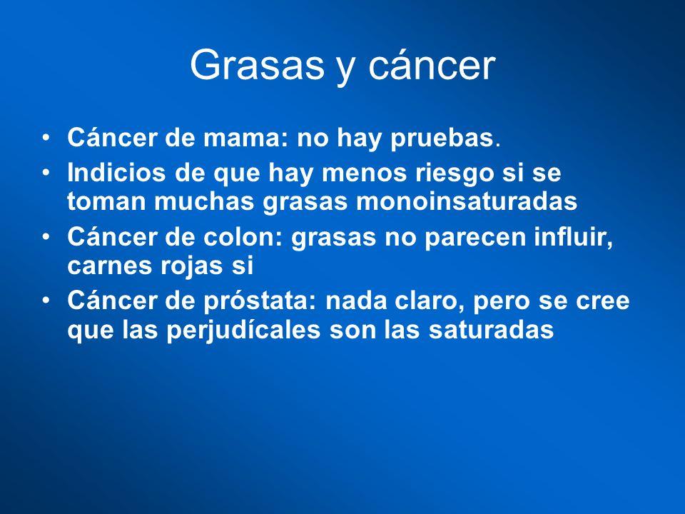 Grasas y cáncer Cáncer de mama: no hay pruebas.