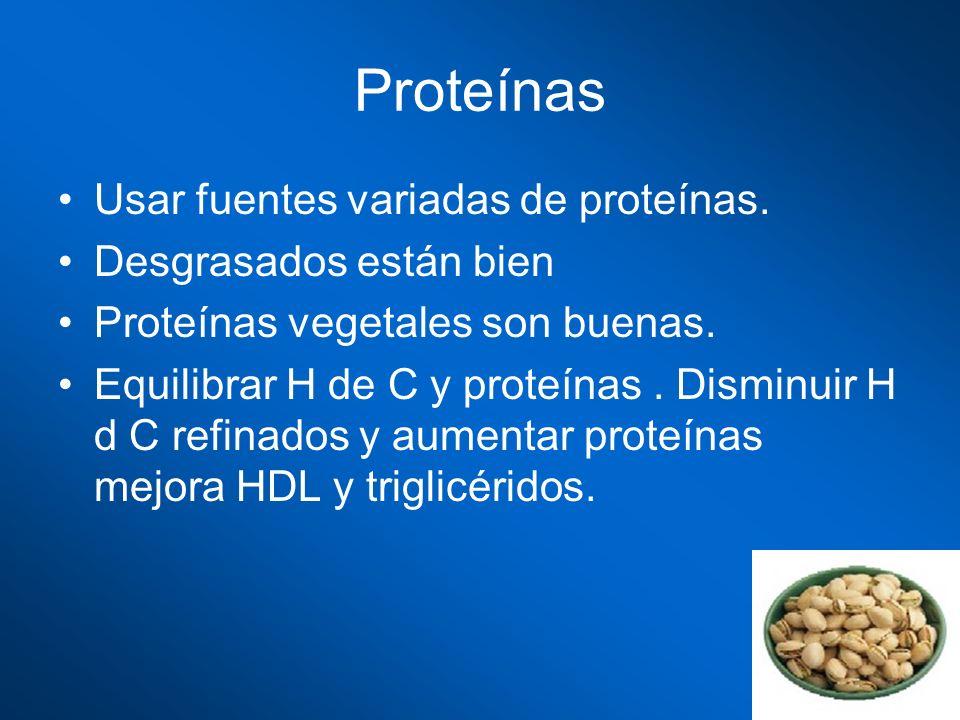 Proteínas Usar fuentes variadas de proteínas. Desgrasados están bien
