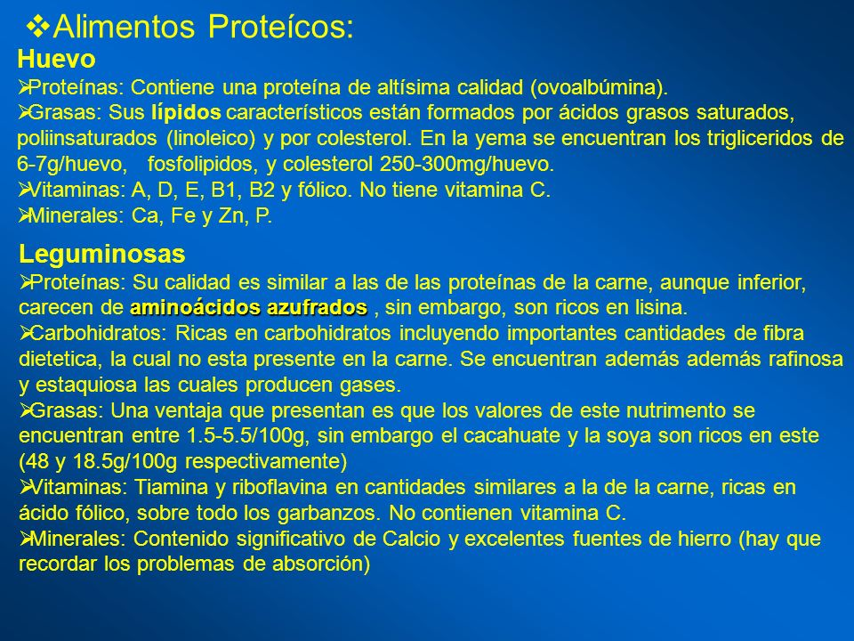 Alimentos Proteícos: Huevo Leguminosas