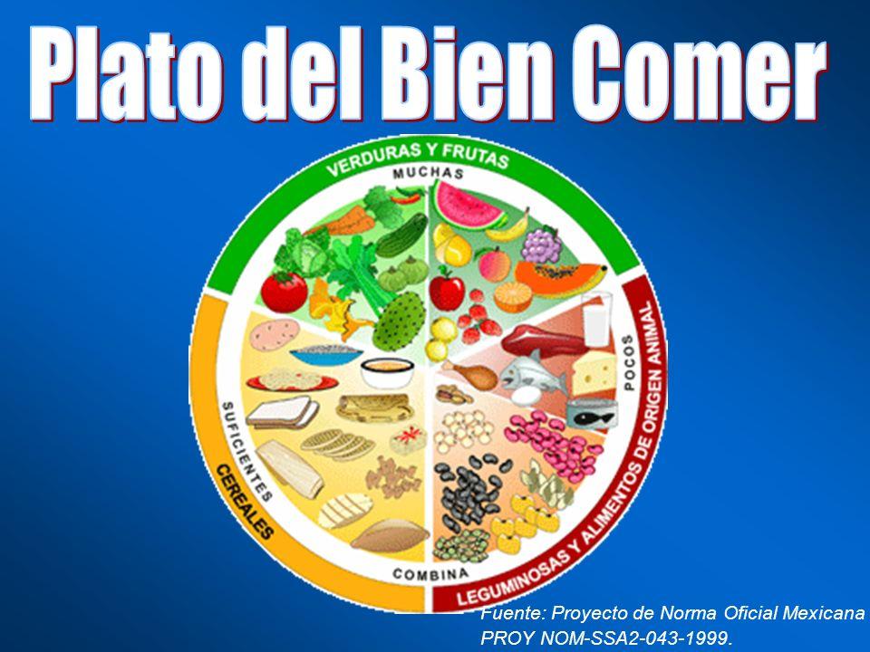Plato del Bien Comer Fuente: Proyecto de Norma Oficial Mexicana PROY NOM-SSA2-043-1999.