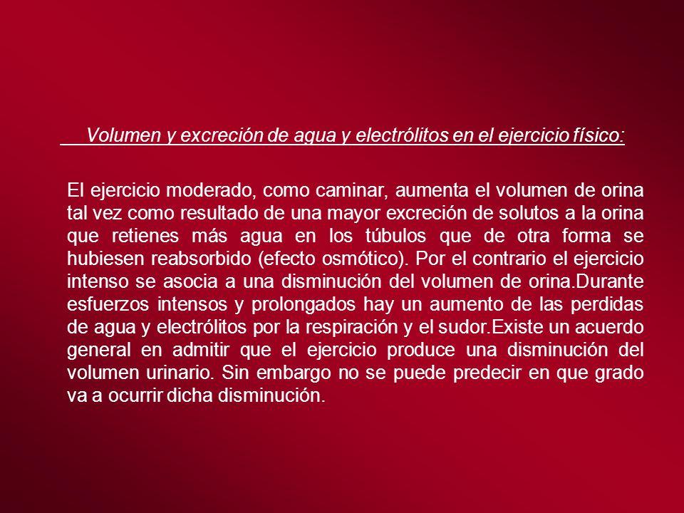 Volumen y excreción de agua y electrólitos en el ejercicio físico: