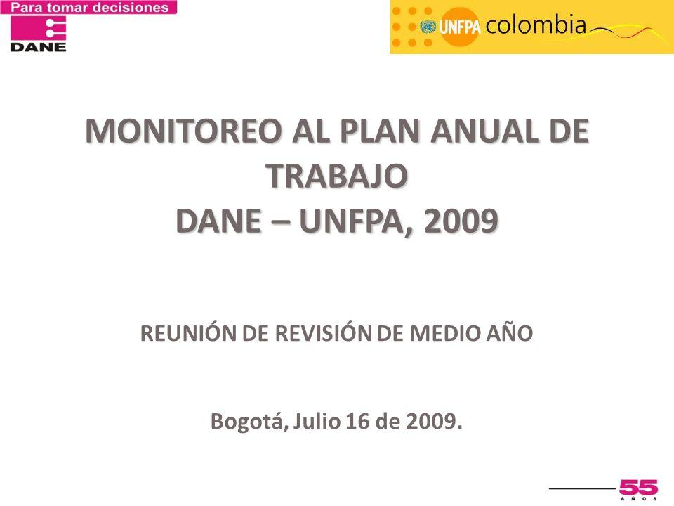 Monitoreo al Plan Anual de Trabajo DANE – UNFPA, 2009