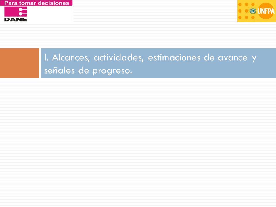 I. Alcances, actividades, estimaciones de avance y señales de progreso.