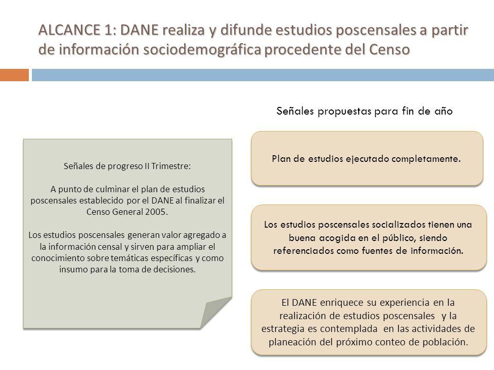ALCANCE 1: DANE realiza y difunde estudios poscensales a partir de información sociodemográfica procedente del Censo