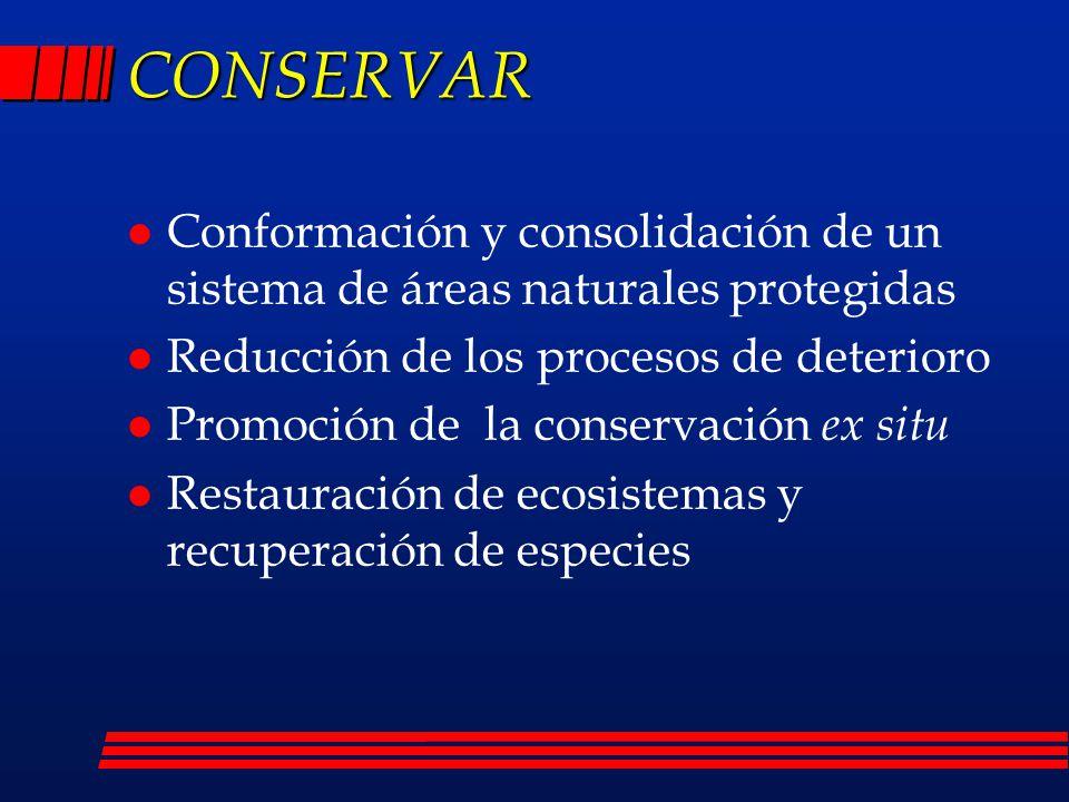 CONSERVAR Conformación y consolidación de un sistema de áreas naturales protegidas. Reducción de los procesos de deterioro.