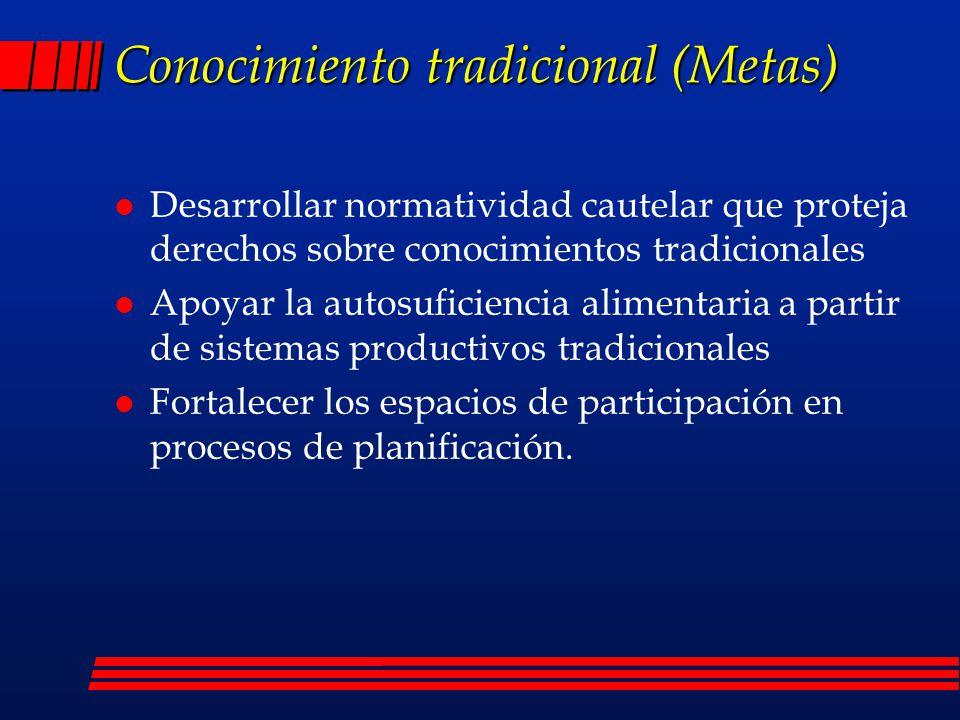Conocimiento tradicional (Metas)