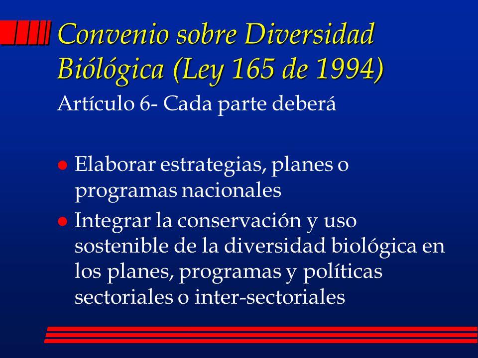 Convenio sobre Diversidad Biólógica (Ley 165 de 1994)