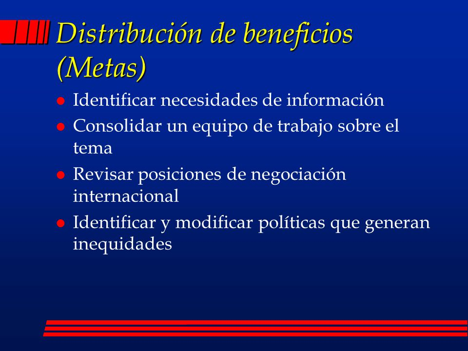Distribución de beneficios (Metas)