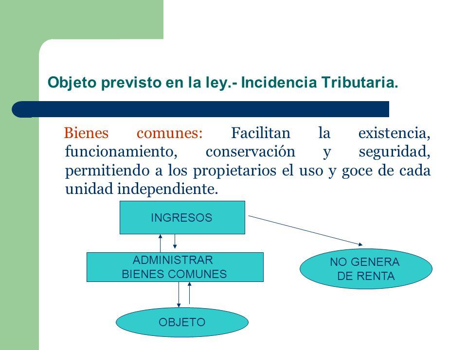 Objeto previsto en la ley.- Incidencia Tributaria.