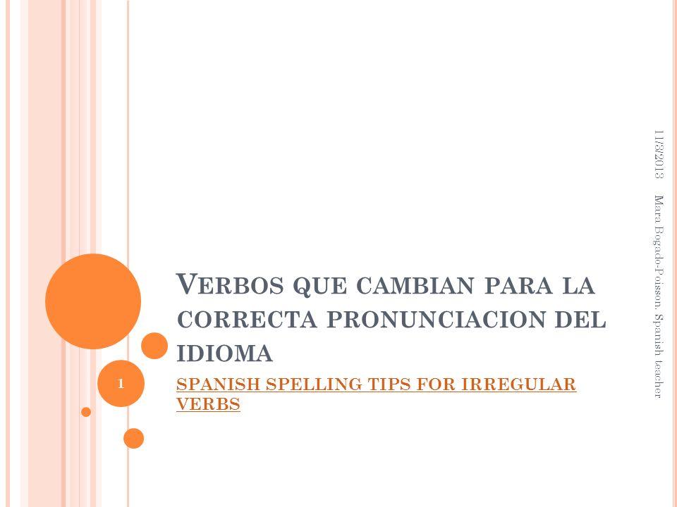 Verbos que cambian para la correcta pronunciacion del idioma