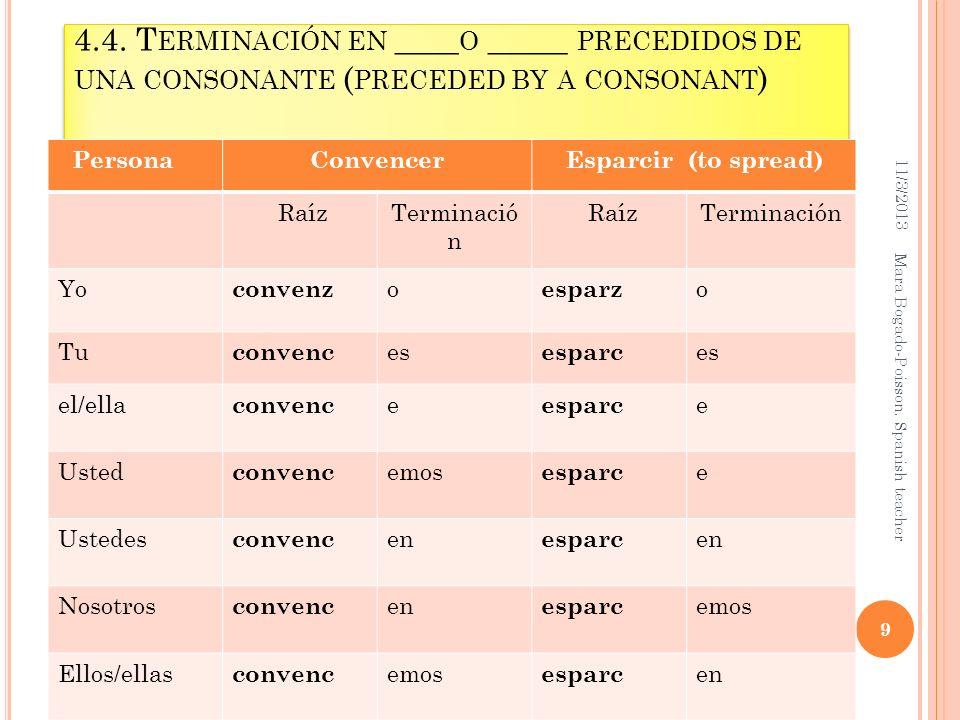 4.4. Terminación en ____o _____ precedidos de una consonante (preceded by a consonant)