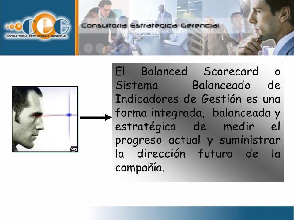 El Balanced Scorecard o Sistema Balanceado de Indicadores de Gestión es una forma integrada, balanceada y estratégica de medir el progreso actual y suministrar la dirección futura de la compañía.