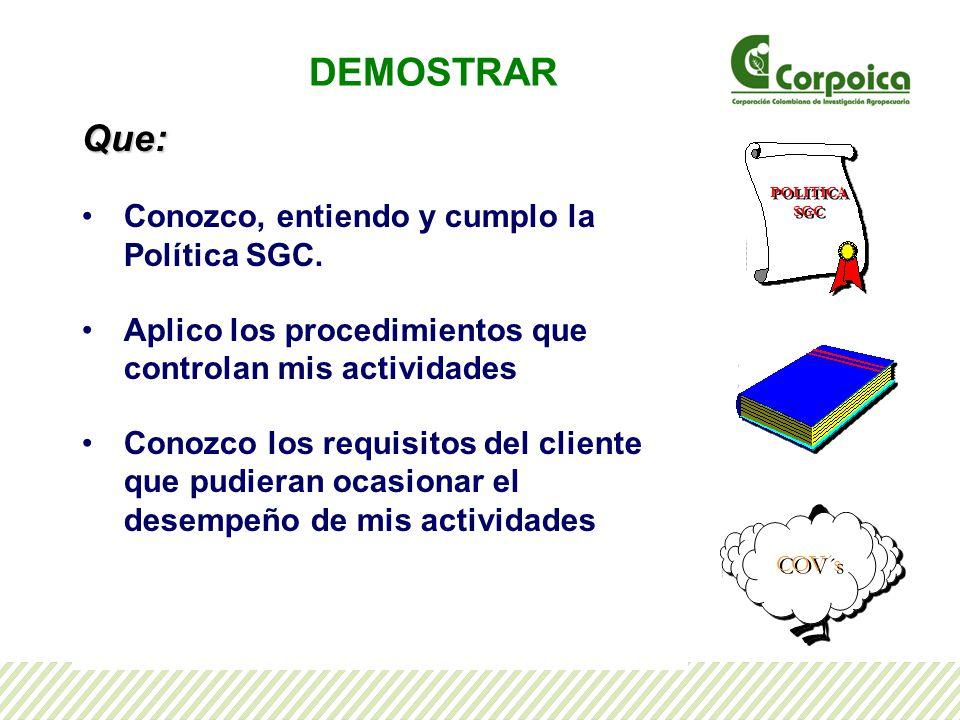 DEMOSTRAR Que: Conozco, entiendo y cumplo la Política SGC.