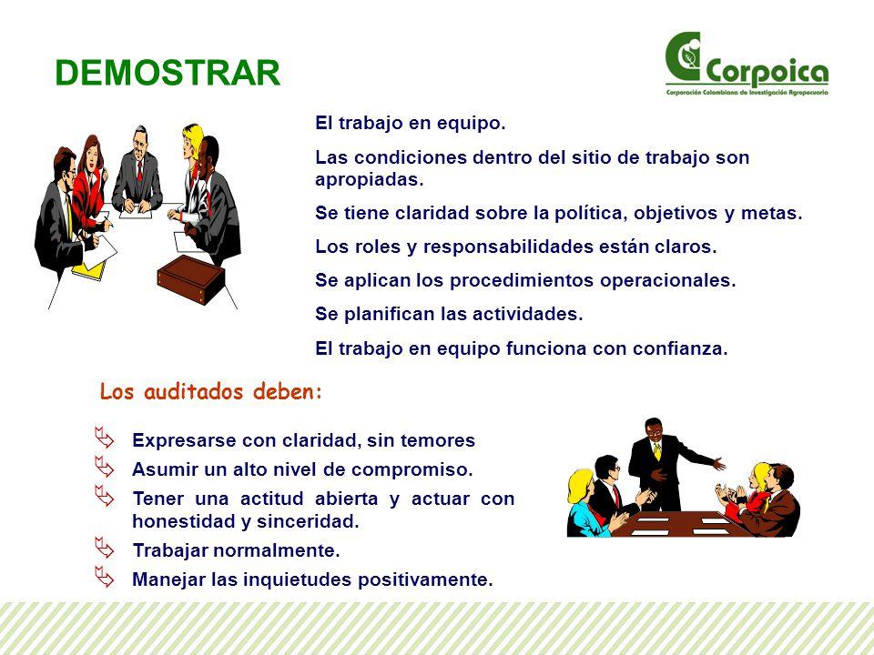 DEMOSTRAR Los auditados deben: El trabajo en equipo.