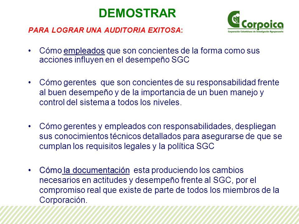 DEMOSTRAR PARA LOGRAR UNA AUDITORIA EXITOSA: Cómo empleados que son concientes de la forma como sus acciones influyen en el desempeño SGC.