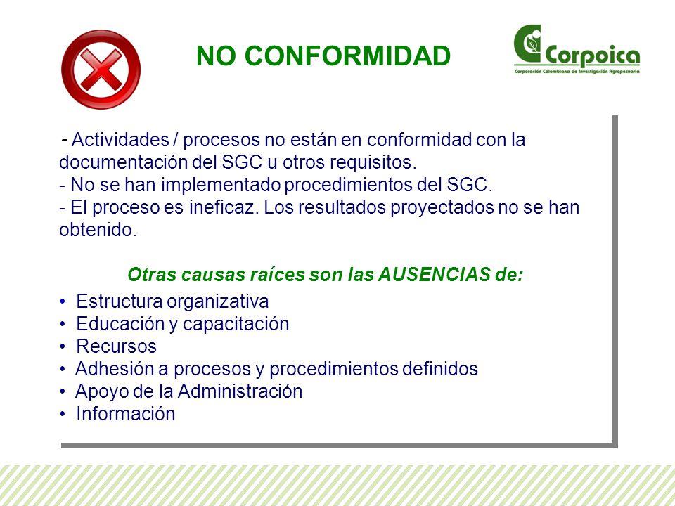NO CONFORMIDAD - Actividades / procesos no están en conformidad con la documentación del SGC u otros requisitos.