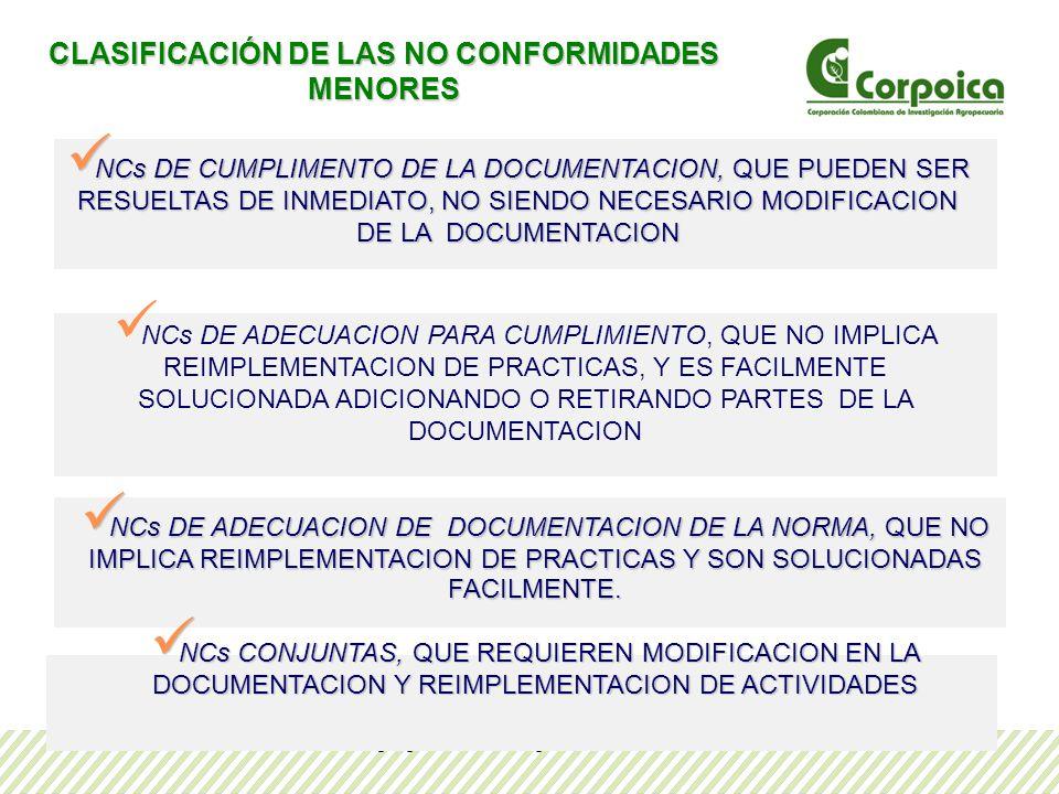 CLASIFICACIÓN DE LAS NO CONFORMIDADES MENORES
