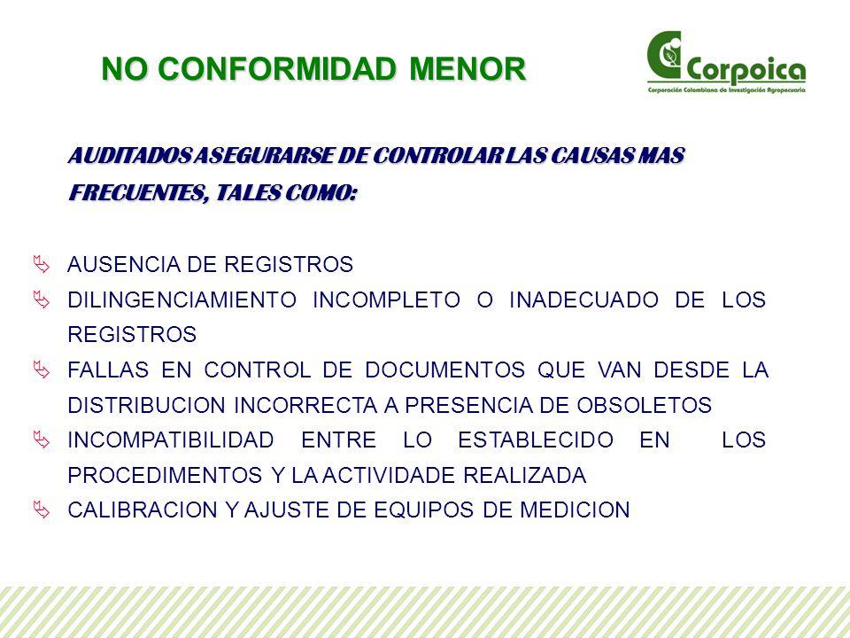 NO CONFORMIDAD MENOR AUDITADOS ASEGURARSE DE CONTROLAR LAS CAUSAS MAS FRECUENTES, TALES COMO: AUSENCIA DE REGISTROS.