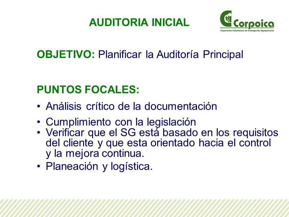 AUDITORIA INICIAL OBJETIVO: Planificar la Auditoría Principal. PUNTOS FOCALES: Análisis crítico de la documentación.